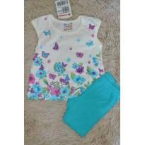 Conjunto de blusa floral off e bermuda verde - 3 meses - Brando