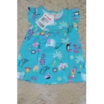 Vestido Floral com franzidos azul - 6 meses - Brandili