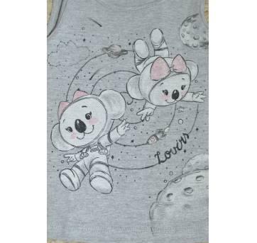 Blusa regata Baby Lilica astronauta -cinza - 9 a 12 meses - Lilica Ripilica