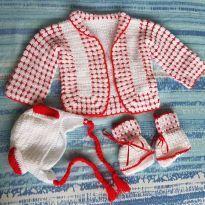 kit bebê lã branco e vermelho - 0 a 3 meses - Sem marca
