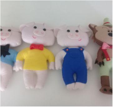 Kit bonecos feltro 3 porquinhos - Sem faixa etaria - Artesanal