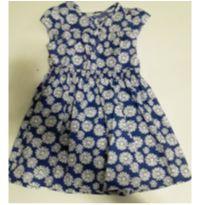 Vestido Oshkosh azul com flores brancas - 4 anos - OshKosh
