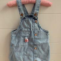 Jardineira (vestido) jeans - 9 a 12 meses - Alphabeto