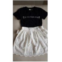 conjunto infantil preto e branco saia e camiseta tam. 10 anos - 10 anos - Fuzarka e Miss Fifteen