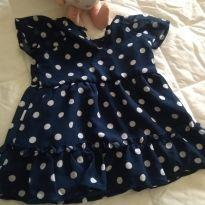 Vestido azul de bolinha - 3 a 6 meses - Hering Kids