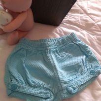 Short azul tiffany - 3 a 6 meses - Um mais um