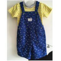 Jardineira azul com estampa de aviõezinhos e t-shirt   listrada em amarelo e cin - 18 meses - Carter`s