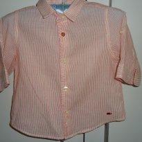Camisa meia manga listrada de vermelho da ZARA - 6 a 9 meses - Zara Baby