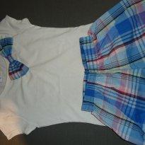 Conjuntinho de blusa branca com shortinho xadrez de azul - 4 anos - Fakini