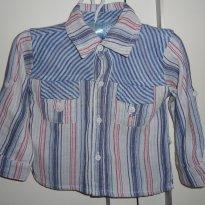 Camisa manga longa listrada de azul com vermelho da Lápis de cor - 9 a 12 meses - Lápis de Cor