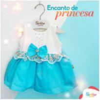 Vestido Paraíso turquesa - 0 a 3 meses - Paraíso Moda Bebê