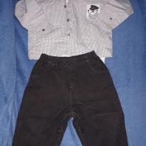 Conjunto camisa e calça sarja M - 6 a 9 meses - Anjos baby