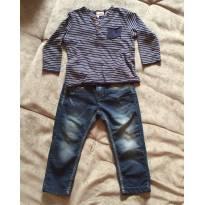 Conjunto blusa listrada Zara e Calça jeans Joy - 2 anos - Zara Baby e Joy