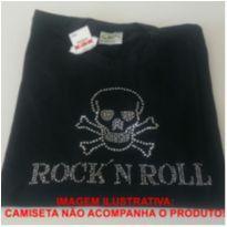 Aplique em Strass para roupas Caveira Rock in Roll -  - Artesanal