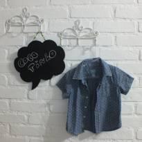 Camisa Jeans de Bolinha Baby Gap - 3 a 6 meses - Baby Gap