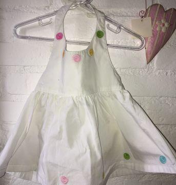 Vestido decotado branco com bolinhas coloridas - 12 a 18 meses - Gymboree