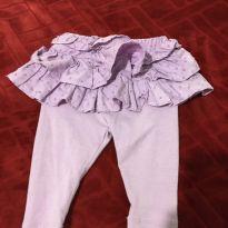 Calça de malha com saia babadinho lilas - 0 a 3 meses - Baby Gap