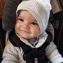Cardigan Cater's com capuz e orelhinhas. Cinza claro - 6 meses - Importado - 6 meses - Carter`s