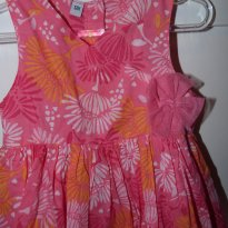 Lindo vestido pink estampado 12 meses - Paris - 1 ano - Desconhecida