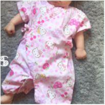 Macacão baby Kimono Hello Kitty 0-3 meses - 0 a 3 meses - Sanrio e Hello Kitty by Sanrio