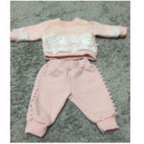 Conjunto fofo de moletom Rosa - 0-3 meses - 0 a 3 meses - Beth Bebê