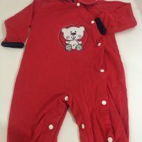 Macacão de algodão ursinho vermelho - 9 meses - 9 meses - Nacional e Nacional sem etiqueta