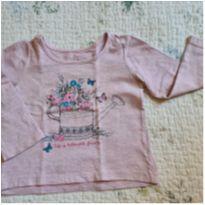 Camiseta de manga longa - rosa com letras em glitter - 1 ano - Poim