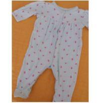 Macacão Verde com pequenas flores rosa - Teddy Boom - 3 a 6 meses - Teddy Boom