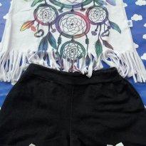 Conjunto shorts e camiseta franjinha LINDO foi usado uma vez Tam 8 (veste menos) - 8 anos - Não informada