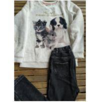 Conj. Importado H&M blusa peluciada e calça legging grossa Tam 8/10 - 9 anos - H&M