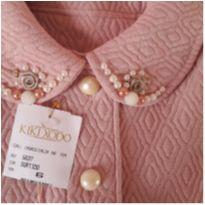 Casaco meia estação rosa bordado - 6 anos - Kiki Xodó