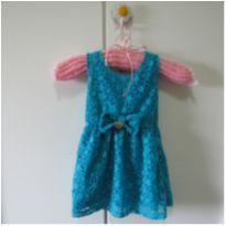 Vestido azul petróleo - 3 a 6 meses - Angerô