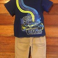 Conjunto Camiseta Carrinho Azul e Calça Bege Jeans Primavera - 6 a 9 meses - Garanimals e Koala Kids