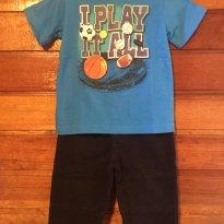 Conjunto Camiseta Esportes Azul e Calça Preta Jeans Primavera - 6 a 9 meses - Garanimals e Koala Kids