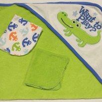 Toalha Bebe Jacaré com 2 toalhinhas para dar banho no bebê -  - Circo