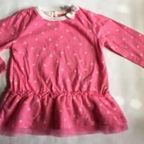 Blusa/ bata rosa de corações - 0 a 3 meses - Cherokee
