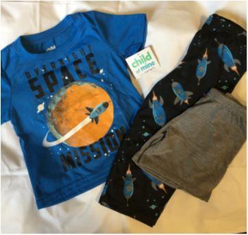 Pijama 3 pecas camiseta calca e short espacial - 18 a 24 meses - Carter`s