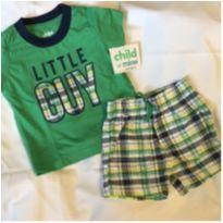 Conjuntinho short e camiseta verde 3-6m - 3 a 6 meses - Carter`s