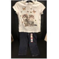 Conjuntinho calça jeans cotton e camiseta de brinde - 2 anos - Garanimals e HM