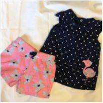 conjuntinho Flamingo Batinha e Short - 3 a 6 meses - Child of Mine e Carter`s