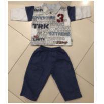 Conjunto Moleton com Gola e botões Trick e calça Azul - 1 ano - Trick