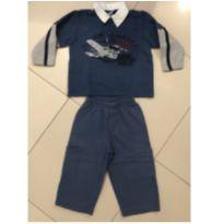 Conjunto Moleton com gola e botões aviões e calça  azul - 12 a 18 meses - Kids Minis