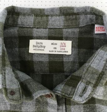 Camisa Zara xadrez flanelada tam 3 - 3 anos - Zara