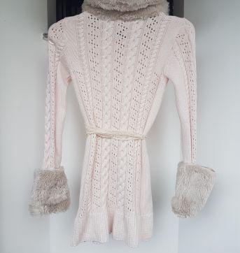 Casaco em trico com detalhes em pele - 14 anos - Pituchinhus