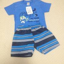 Conjunto Camiseta   Bermuda Azul Tamanho G - Coleção Primavera e Verão - 9 a 12 meses - Pulla Bulla