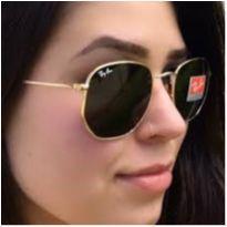 óculos de sol hexagonal armação dourado lentes preto rb3548 proteção uv400 -  - Ray Ban