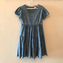 Vestido Azul Riscadinho de Branco - 8 anos - PUC