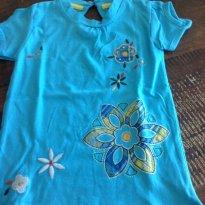 Blusa azul bordada - 2 anos - Não informada