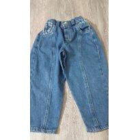 Cal;ca Jeans com Detalhes em Xadrez - 12 a 18 meses - Não informada
