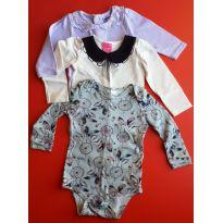 Kit com 3 bodys manga comprida - 6 a 9 meses - TipTop/Kamylus/Up Baby - 6 a 9 meses - Tip Top e Up Baby
